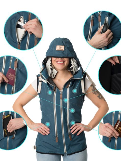 Neckpacker - travel jacket with patented built-in pillow